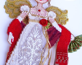 Brooke's Books Jane Austen at the Xmas Ball Stitchy Doll INSTANT DOWNLOAD Cross Stitch Chart
