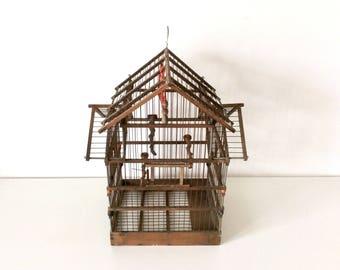 Mid Century Wooden Bird Cage, Bird House, Nest Box, Antique Nest Box, Antique Nest, Nest House, Vintage Bird House, Home Decor.