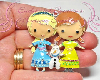 """2"""" X 2"""" Frozen Princess Elsa, Anna and Olaf Trio Inspired Chunky Pendant, Keychain, Bookmark,Chunky Jewelry, Frozen Inspired Jewelry"""