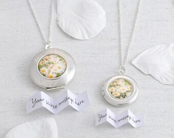 Daisy Locket Necklace - Personalised Locket - Custom Locket - Daisy Necklace - Bridesmaid Jewellery - Bridesmaid Gift - Spring Wedding