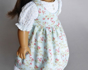 Prairie style dress and pinafore for American Girl dolls