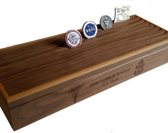 Military Challenge Coin Box Display, 60 Count Engraved Coin Holder, Personalized for Air Force, Army, Navy, USMC, Coast Guard, Retirement