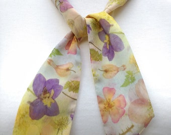 Skinny Scarf, floral scarves, Watercolor Garden, scarves for women, neck scarf, neck tie, flower garden scarf, wrap
