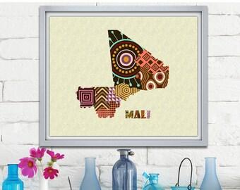 Mali Map Art Print Wall Decor, Mali Poster African Art Print,  Bamako Mali West Africa, African Map Poster