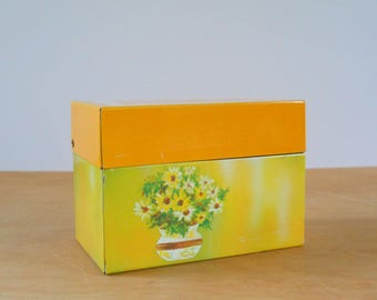Vintage Recipe File Box • Ohio Art Metal Box • 1970s Vintage Yellow Flowers