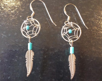 Sterling Silver 925 Stamped, Turquoise Tribal Earrings.