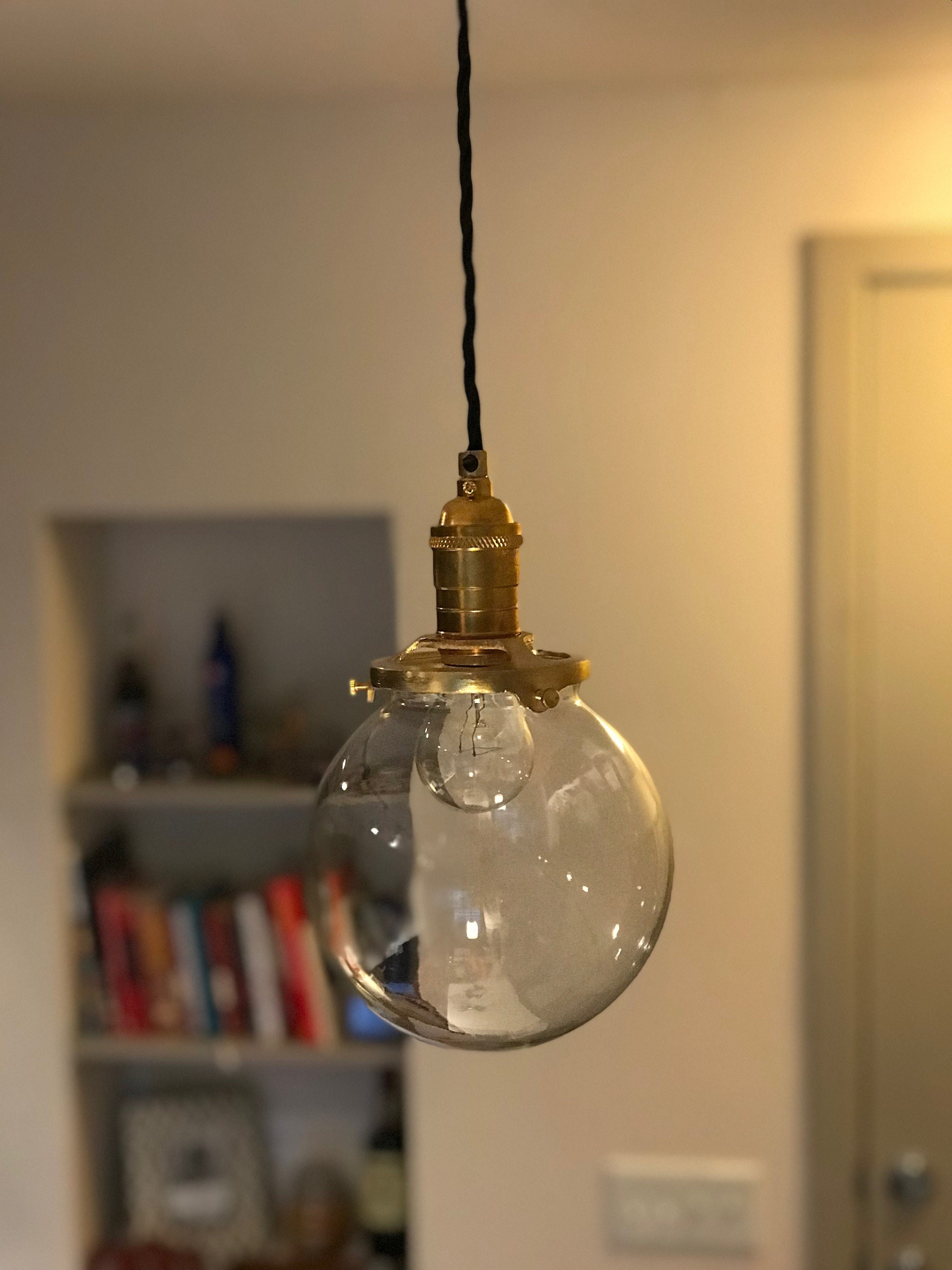 Modern pendant light gold brass 6 clear glass globe hanging modern pendant light gold brass 6 clear glass globe hanging light fixtures pendant lamps arubaitofo Images