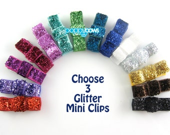 3 Pack Glitter Hair Clips - Your Choice Color Mini Snap Clip for Fine Hair Newborn to Toddler - Non Slip Tuxedo Hair Bows mt