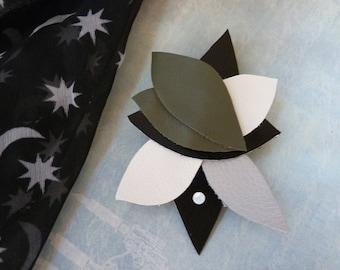 Brooch / pin / khaki, grey, ecru, black leather necklace