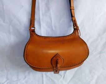Grain leather handbag, model Ani
