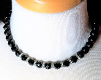 25% OFF SALE Black Faceted Cut Glass with Rondelle Rhinestones Choker Vintage Necklace