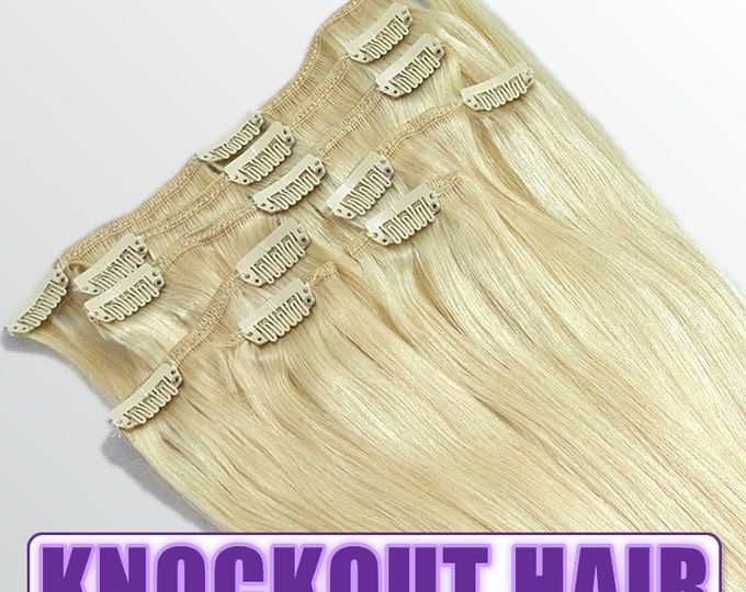"""Clip In Human Hair Extensions 18"""" - 120 Grams Full Head Remy Premium Grade AAAAA Double Wefted (Lightest Blonde #60)"""