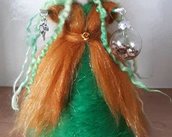Green And Gold Tree Top Fairy, Needle Felt Fairy, Waldorf Inspired,