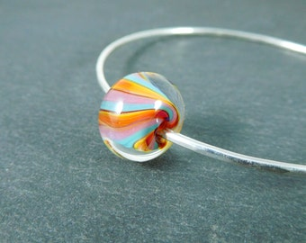 Stacking Bangle Bracelet Colorful Striped Glass Bracelet, Simple Jewelry Sterling Silver Bracelet Hammered Silver Bracelet Lampwork Bracelet