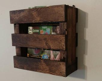 Rustic Wood Magazine Rack, Restaurant Menu Holder, Wall Mounted Decor, Wall Storage, Farmhouse Decor
