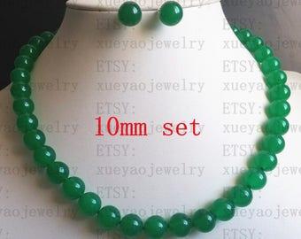jade necklace jade stud earring set- 8mm/ 10mm green jade necklace & earrings set  free shipping