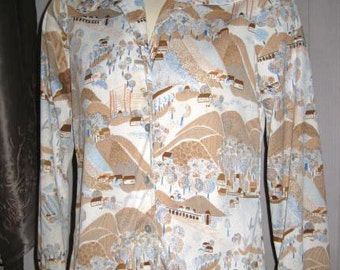 Ladies Polyester Blouse - Montgomery Ward - Long Sleeve - Blue, Brown, White Print Vintage