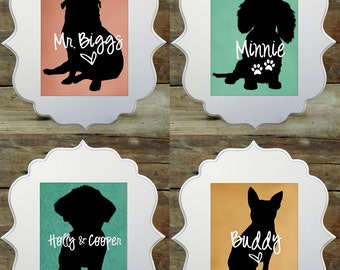 Statement Pet Name Art Prints - Choose a breed and a name - Custom Pet Art