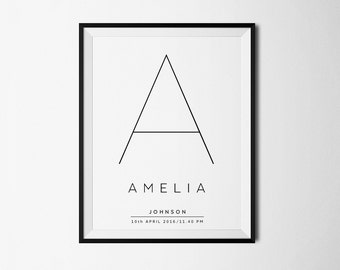 Personalized Name print, Baby name print, Baby arrival, Baby Girl Gift, Personalized nursery art, Baby name nursery decor, Personalized art