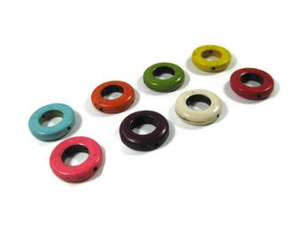 20 mm Howlite Ring Beads Set of 8