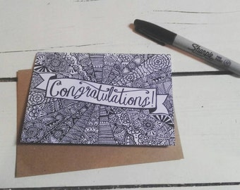 Congratulations Card - Congrats - A6 Greetings Card - Henna Mehndi Art - Fineliner Drawing - Mandala - Zentangle