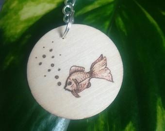 Goldfish keyring wood pyrography keychain