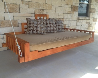 Swing Bed -  Porch Swing (Outdoor bed, Day bed swing, Hanging Bed, Swing) Handmade with Mahogany wood