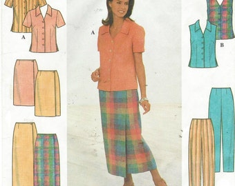 90s Womens Button Front Blouse, Wrap Skirt and Pants Simplicity Sewing Pattern 8124 Size 8 10 12 Bust 31 1/2 to 34 UnCut Sewing Patterns