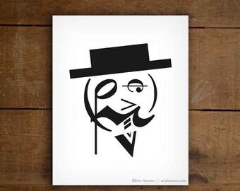 Music teacher gift / FANCY MAN music note art print - 5x7, 8x10, 11x14 art print / Music decor / Music room decor / Music graduation gift