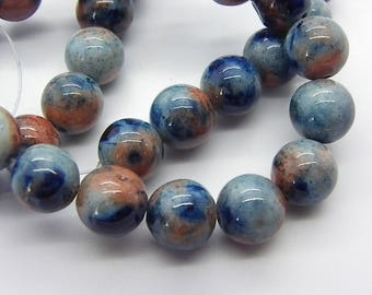a beautiful 42 10 mm beige blue multicolor jade dyed