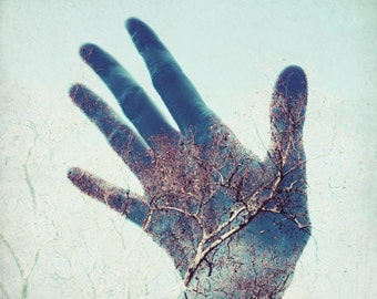 """Hand Photograph, Whimsical Photography, Double Exposure, Tree Photography """"Touch the Sky"""" Surreal Large Wall Art, Blue Gold 11x14 Print"""