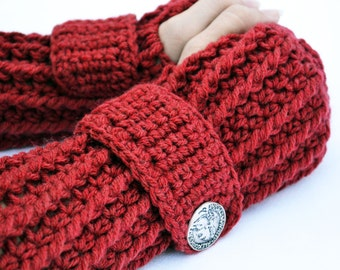 Autumn red arm warmers, fingerless gloves, texting gloves, crochet gloves, winter gloves, hand warmers, mittens, boho fashion, button gloves