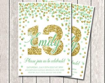 13th Birthday Invitations Printable 10th Invitation Hot Pink Orange And Gold Confetti