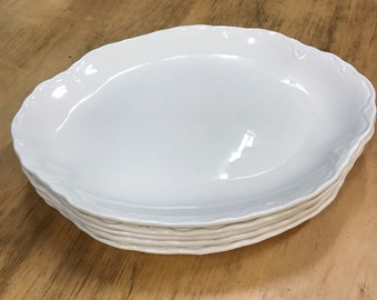 Embossed White USA Ironstone Oval Dishes