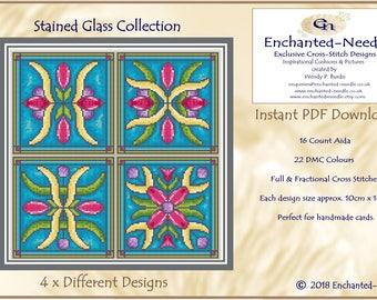 Stained Glass PDF Cross Stitch Chart // Cross Stitch Card Pattern // Instant Download // Cross Stitch PDF// Church Stained Glass