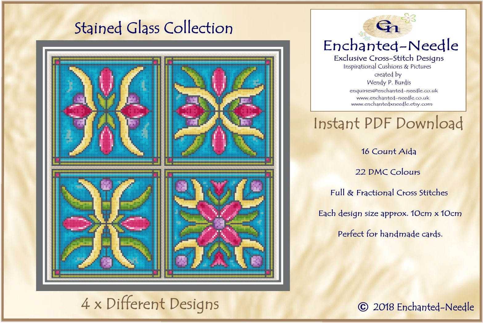 Stained glass pdf cross stitch chart cross stitch card pattern this is a digital file geenschuldenfo Images