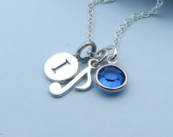Silver Music Note Necklace, Musical Necklace, Personalized Music Jewelry, Sterling Silver, Music Lover, Musician Gift, Birthstone Jewelry