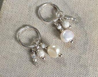 Interchangeable Sterling Silver Hoop Charm Earrings with Baroque Pearls, Sparkle Beads and Silver Diamonds