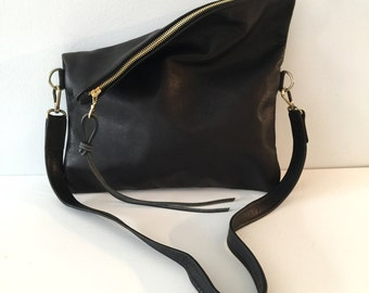 Black Leather Clutch , Large Fold over Clutch , cross body bag , black leather cross body clutch- Sale