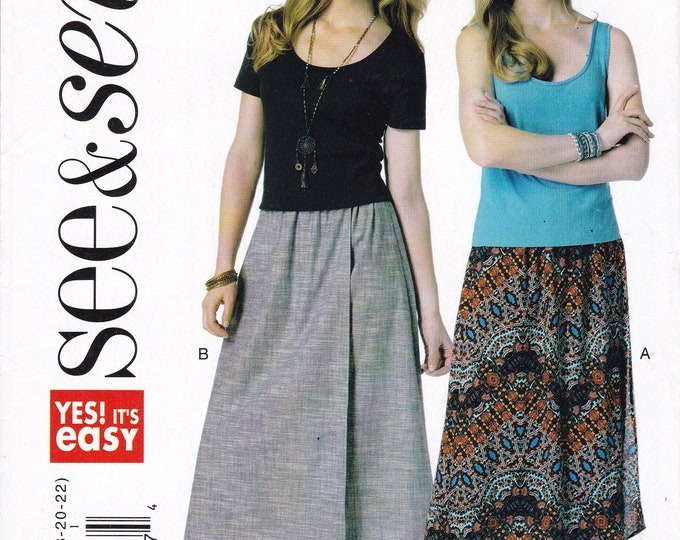 FREE US SHIP Sewing Pattern Butterick 6346 Easy See & Sew Out of Print  Elastic Waist Shaped Hem Maxi Skirt Factory Folded Size 8-22