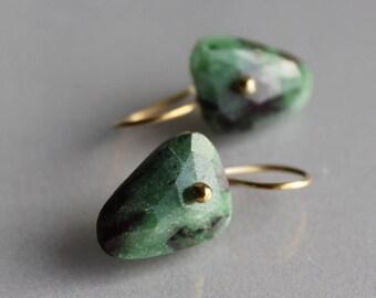Gold Ruby Zoisite Earrings, Solid Gold 14k, Rosecut, Fancy Shape