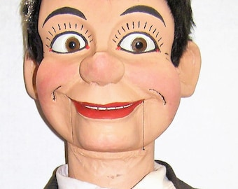 """Ventriloquist Dummy/Doll/Figure by Ken Spencer-Carved Basswood -1950 38"""" - Named TODD"""