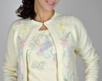 Spring Cardigan, Sweater Set White, Sweater Set, Floral Sweater 1950s, Beaded Cardigan Sweaters, St Micheal Cardigan, 1950s Sweater Set,
