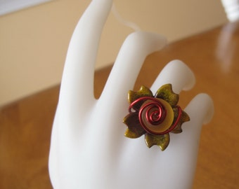 Red and Yellow Ochre Flower Ring on Red Wrapped Wire Size 5