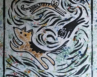 Cats and Dogs Linocut and Collograph