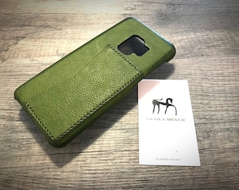 Samsung Galaxy S9 and S9 Plus Leather Case genuine natural leather 1 credit card horizontal use as protection CHOOSE color and device