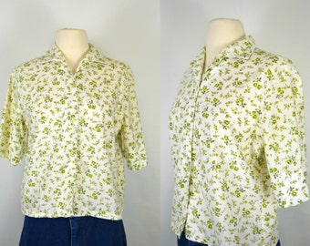 1960s White Blouse with Green Floral Print by Crown, Every Day Wear