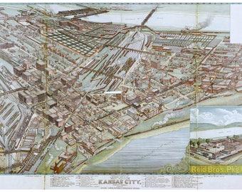 Birdseye Map of Kansas City, Missouri by Koch; 1895; Antique Map