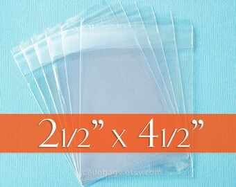 100-Pack 2 1/2 x 4 1/2 Inch Resealable Cello Bags, 1.6 mil Bags with Adhesive on Flap