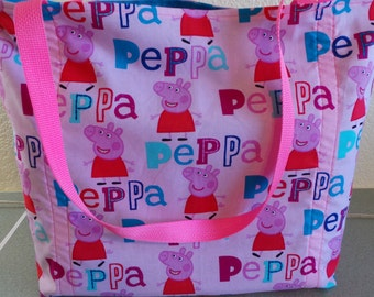 Peppa The Pig, Reusable Farmers Market / Grocery / Gift / Shopping Bag / Tote